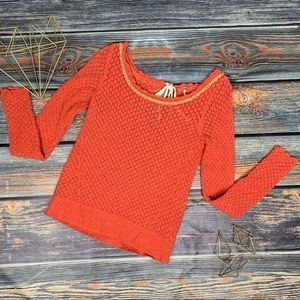 Anthropologie Free people orange mesh sweater